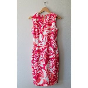 Calvin Klein orange floral scuba sheath dress